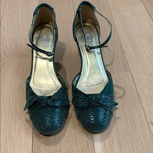 Rebecca Taylor Green Wedge Shoes - Size 8